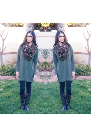 animal print Forever 21 scarf - brown Aldo boots - olive green Target sweater