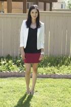 white H&M blazer - maroon H&M skirt