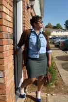 bag - socks - glasses - blouse - skirt - cardigan