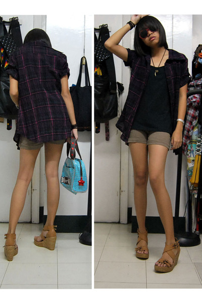 Kisses & Co blouse - shorts - Chinese Laundry shoes - Gap top - accessories
