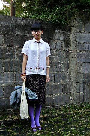 black unbranded glasses - beige Express shirt - brown unbranded skirt - purple B