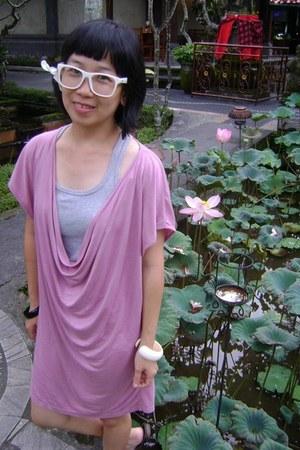 pink Magnolia dress - heather gray top - white glasses - ivory bracelet - black