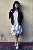 white glasses - black DF jacket - white dress - beige Juan socks - white Believe