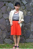 beige jacket - orange envy dress - red shoes
