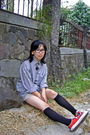 White-glasses-gray-byford-london-shirt-beige-gap-shorts-black-socks