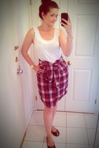 white H&M top - maroon H&M skirt