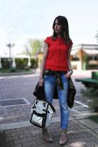 boyfriend jeans maison scotch jeans - Yves Saint Laurent bag - cotton Zara top