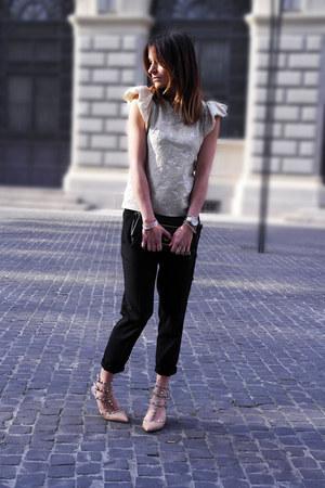H&M top - Louis Vuitton bag - Zara pants - Valentino heels - Michael Kors watch
