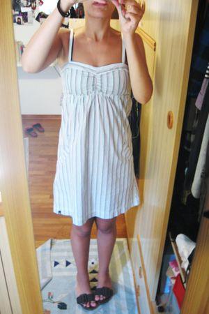 white dress - brown shoes