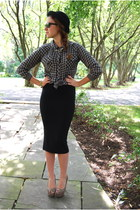 black midi Leith skirt - forest green Rails shirt