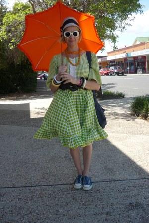 lime green vintage dress - carrot orange vintage accessories - blue DIY bag