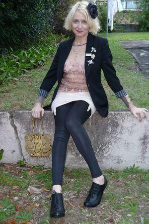 pink vintage from etsy skirt - pink jean paul gaultier top - black Etro blazer -