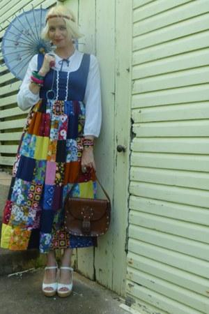 Dandelion Vintage dress - tooled leather thrifted vintage bag - Urban Sole wedge