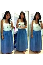 sky blue thrifted denim skirt - ivory top