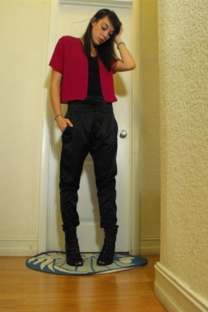vintage raspberry cover top - Zara Pants - Sam Edelman Booties