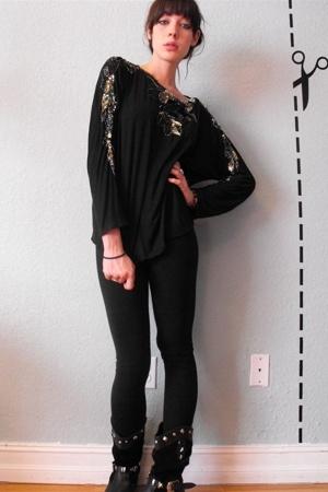 AAwinter legging - Vintage black studded boots
