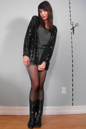 vintage black sequin cardigan - hand me down sweater dress - aa sheer tights - v