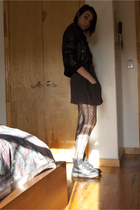 H&M Jacket - random vest dress - aa scoop neck dress - calvin klein tights - doc