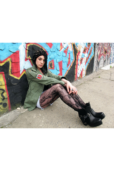 hannah beret coach hat - Maurie and Eve shoes - applied patches Roxy jacket