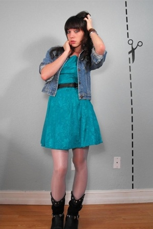 vintage teal flower dress - vintage jean jacket - Urban Outfitters belt - aa tig