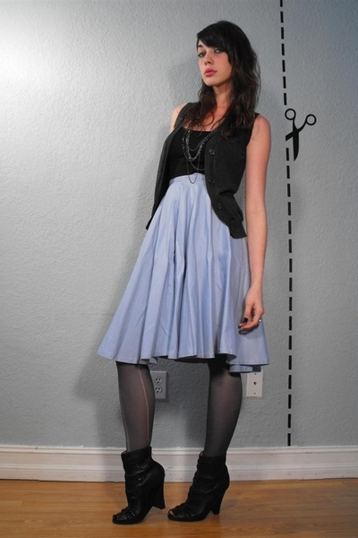 f21 vest and tank top - vintage little bo blue skirt - aa tights - Sam Edelman B