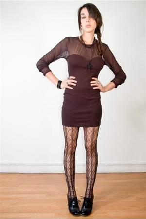 mesh cut out dress - calvin klein tights - oxford booties