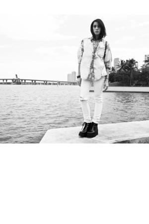bleached denim shirt - insight white jeans - fetish platform shoes