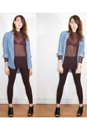 vintage jean blouse - vintage sheer long sleeve top - aa leggings - uo lace bra