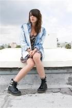 thrifted sheer floral dress - diy bleach jean shirt - diy studded go jane boots