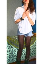 ralph lauren shirt - cut off shorts - black tights - vintage studded boots - hto