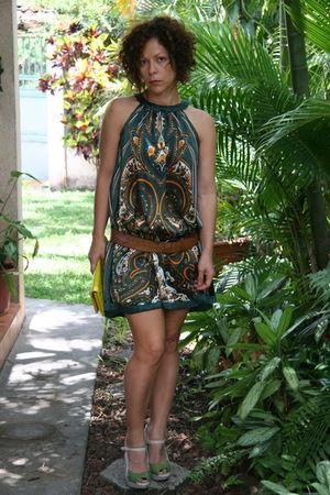 green dress - green nine shoes - orange calvin klein belt - gold purse