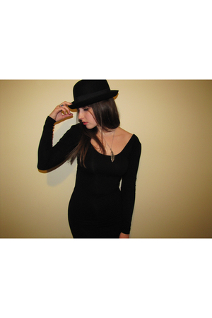 black American Apparel dress - black Target hat - silver kohls necklace - 90s-es
