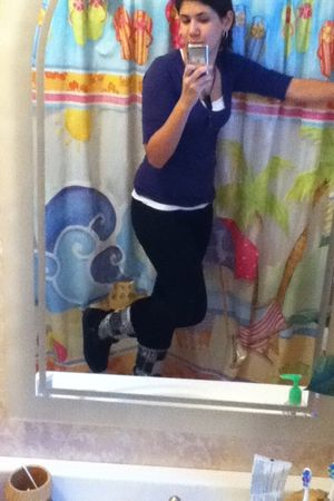 purple Charlotte Russe shirt - white Costco Cami shirt - black sears jeans - bla