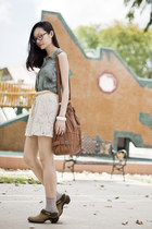 teal Urban Outfitters top - brown leather hobo Gentle Fawn bag