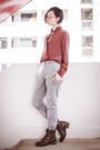 Crimson-brown-steve-madden-boots-brick-red-silk-mango-blouse