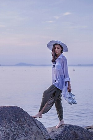 white beach H&M hat - white chiffon shirt - olive green harem pants