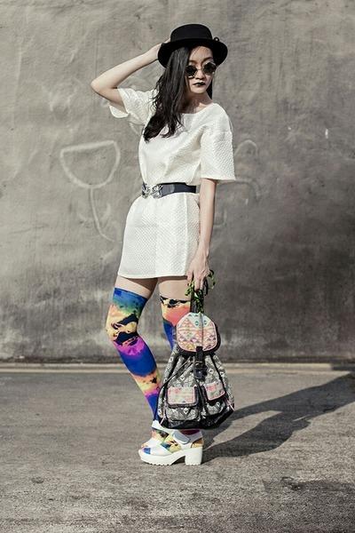 ivory shift Zalora dress - white platform Taobao sandals