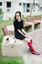 black skater Forever 21 dress - brick red lace Urban Outfitters socks
