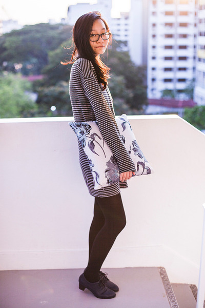 gray tunic Zara dress - navy oxfords Taobao heels