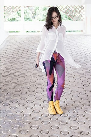 white sheer Mphosis top - purple bdg Urban Outfitters jeans