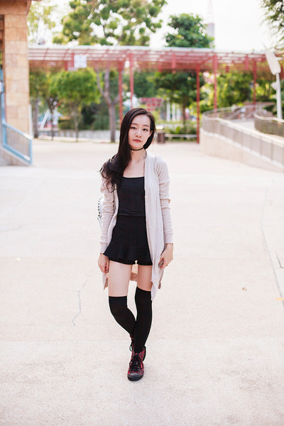black thigh high We Love Colors socks - black black Uniqlo top
