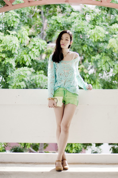 aquamarine crochet lace Chicwish top - ivory Old Navy top