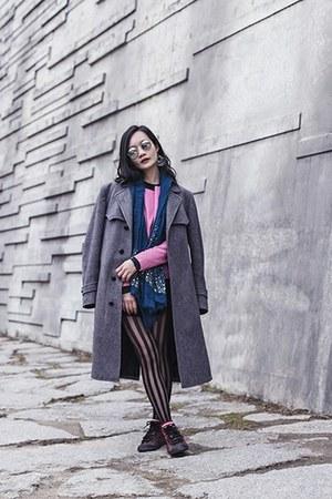 bubble gum leather Viparo jacket - heather gray menswear vintage coat