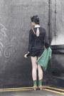 Black-h-m-divided-dress-green-raincoat-cape-calvin-klein-coat