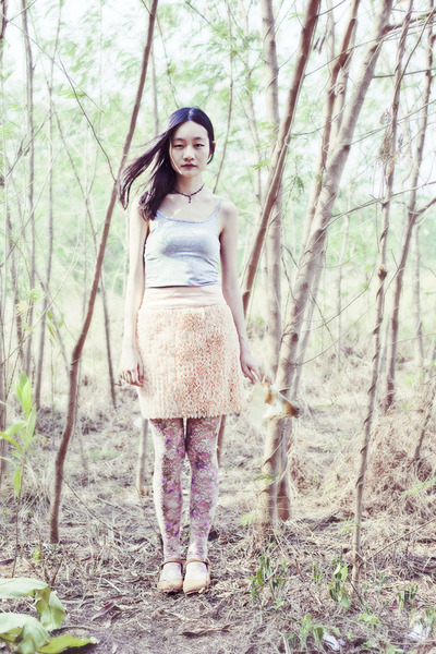 light pink floral lace Urban Outfitters tights - light pink ruffled bysi skirt