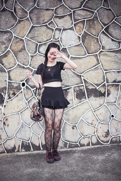 black lace Topshop leggings - black floral Dressin bag