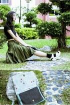 army green pleated Bugis Village skirt - black crop DressLink top