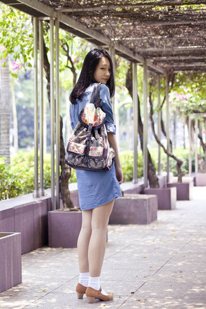 black geometric t-shirt & jeans bag - light blue denim Uniqlo dress