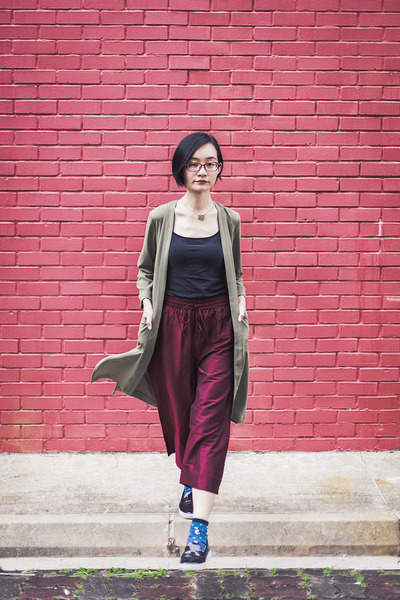 black Zalora shoes - olive green green H&M cardigan - black black Uniqlo top