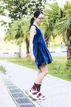 blue velvet cotton on dress
